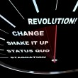 Change - Speedometer Races to Revolution - Stock Photo