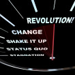 Stock Photo: Change - Speedometer Races to Revolution