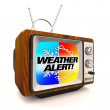 Weather Alert Emergency - Television Update TV - Stock Photo