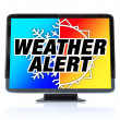 Weather Alert - High Definition Television HDTV - Stock Photo