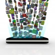 app pictogrammen in slimme telefoon downloaden — Stockfoto