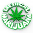 Medical Marijuana - Words and Leaf Icon — Photo