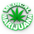 Medical Marijuana - Words and Leaf Icon - Stock Photo