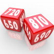 Credit Scores on Red Dice — Stock Photo