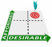 Affordable and Desirable Chart - Arrow and Target — Stock Photo