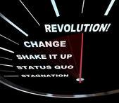 Change - Speedometer Races to Revolution — Stock Photo