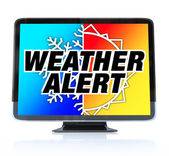Weather Alert - High Definition Television HDTV — Stock Photo