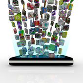 App Icons Downloading into Smart Phone — Stockfoto