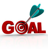 Goal Word - Arrow in Target — Stock Photo
