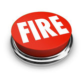 Fire Word on Round Red Button — Stock Photo