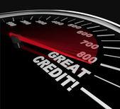 Pointages de crédit grand - chiffres sur le compteur de vitesse — Photo