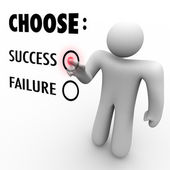 Choose Success Or Failure - Man at Touch Screen — Stock Photo