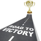 Road to Victory - Golden Winner Trophy — Stock Photo