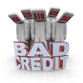 Pontuação de crédito ruim - deprimida com cabeças de número — Foto Stock