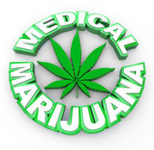 Medical Marijuana - Words and Leaf Icon — Stock Photo