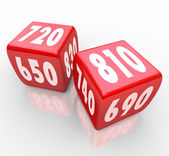 Credit Scores on Red Dice — Photo