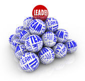 Leader and Team - Balls Forming Pyramid — Stock Photo