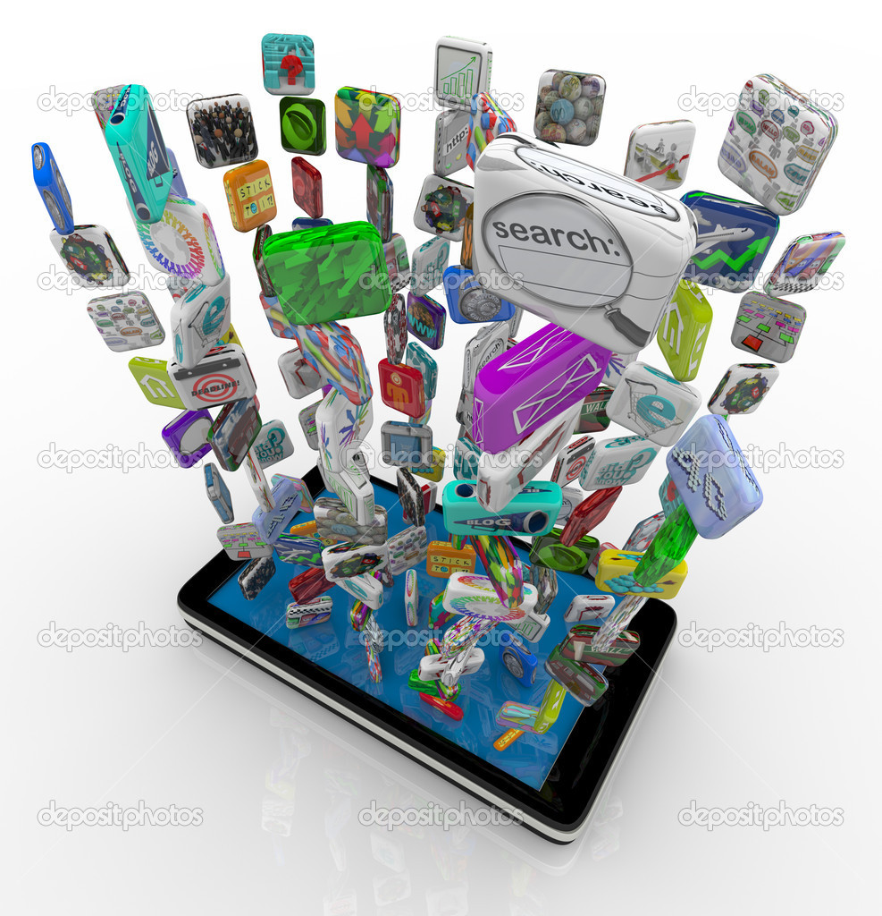 Many application app icons downloading into a smart phone  Foto Stock #4925252