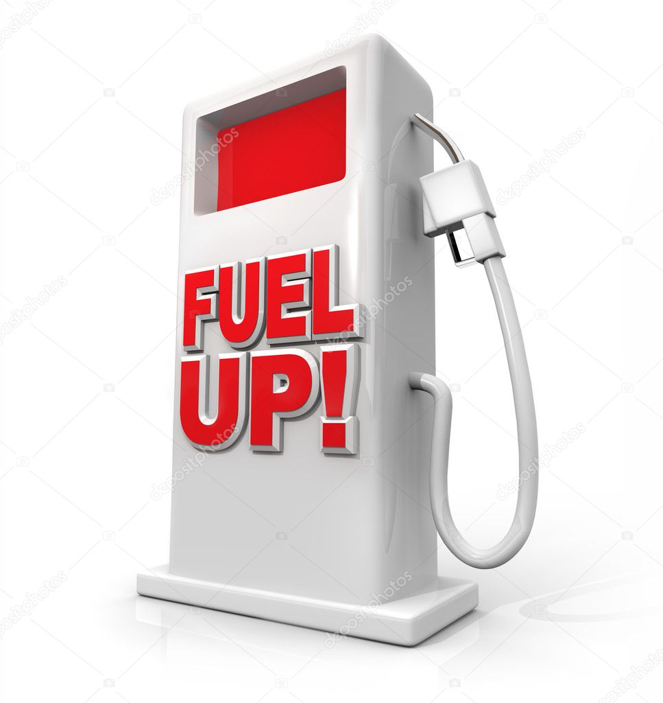 A white pump with red screen and the words Fuel Up on its front — Stock Photo #4925284