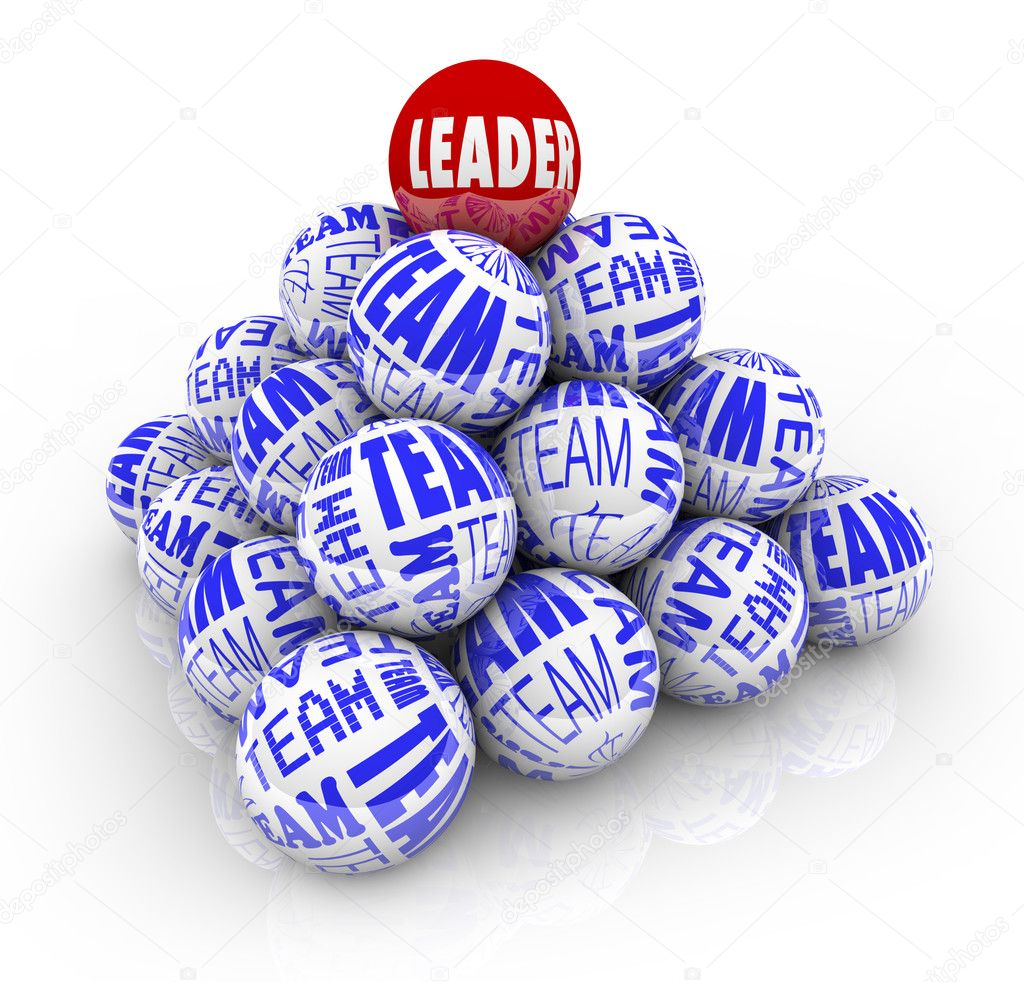 Many balls with the words Team and one reading Leader forming a pyramid symbolizing the cooperation within an organization needed to achieve goals — Stock Photo #4925333