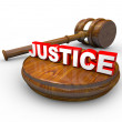 Justice - Judge Gavel and Word — Stock Photo