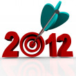 Year 2012 in Red Numbers with Arrow in Target Bulls-Eye - Stock Photo