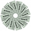 Blank Checks Spiral Pattern - Financial Freedom - Stock Photo