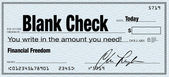 Blank Check - Financial Freedom from Wealth — Stock Photo