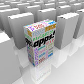 Many Boxes of Apps - Application Software Marketplace Store — Stock Photo