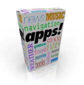 Apps Word on Cereal Box and Many Software Types — Stock Photo