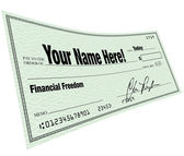 Your Name Here - Financial Freedom Blank Check — Stock Photo