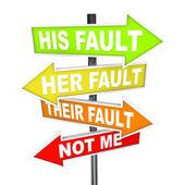 Pfeil-schilder - nicht meine schuld, schuld abzuschieben — Stockfoto