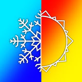 Weather Elements in Sky - Summer Sun and Winter Snow — Stock Photo