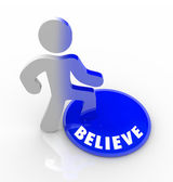 Believe - Person Steps Onto Button with Confidence — Stock Photo