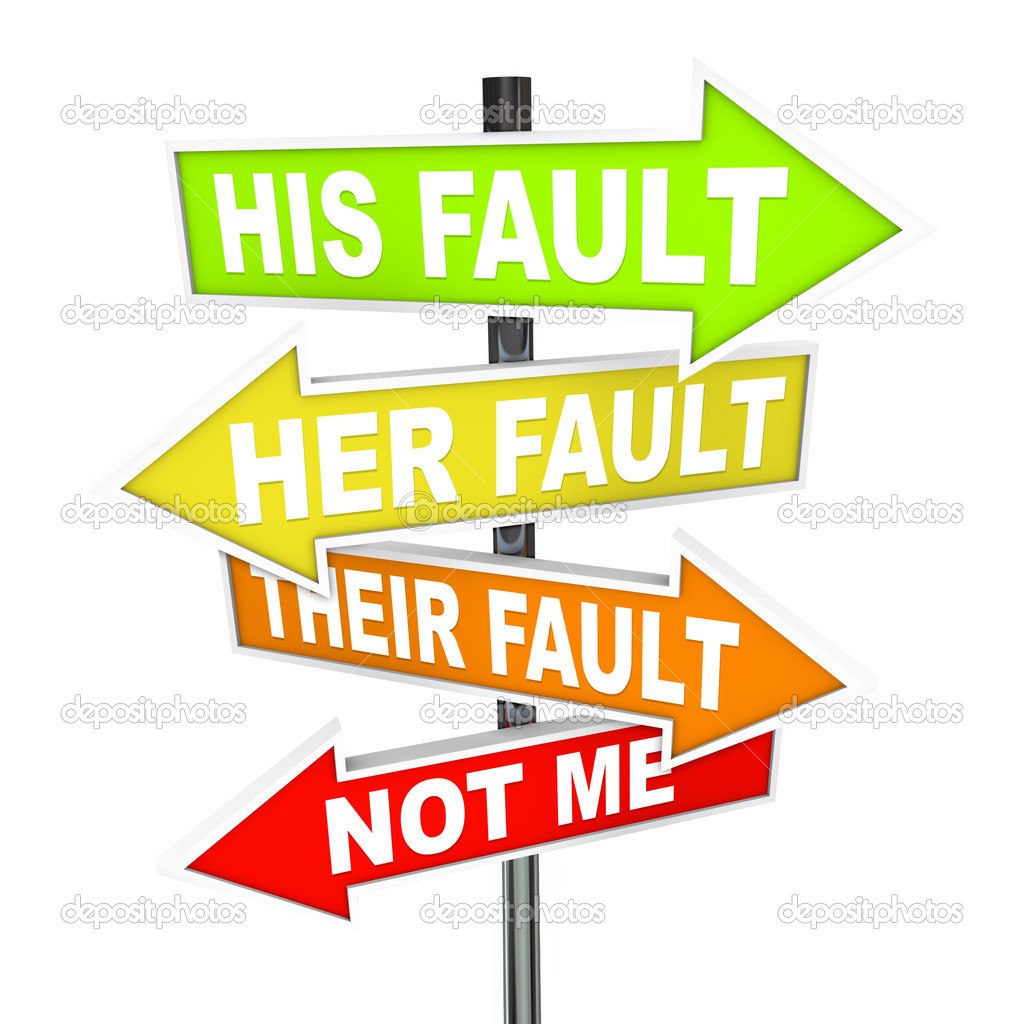 Several colorful arrow street signs with words Not Me - His, Her and Their Fault, symbolizing the twisting of the truth and shifting of blame — Stock Photo #5078728