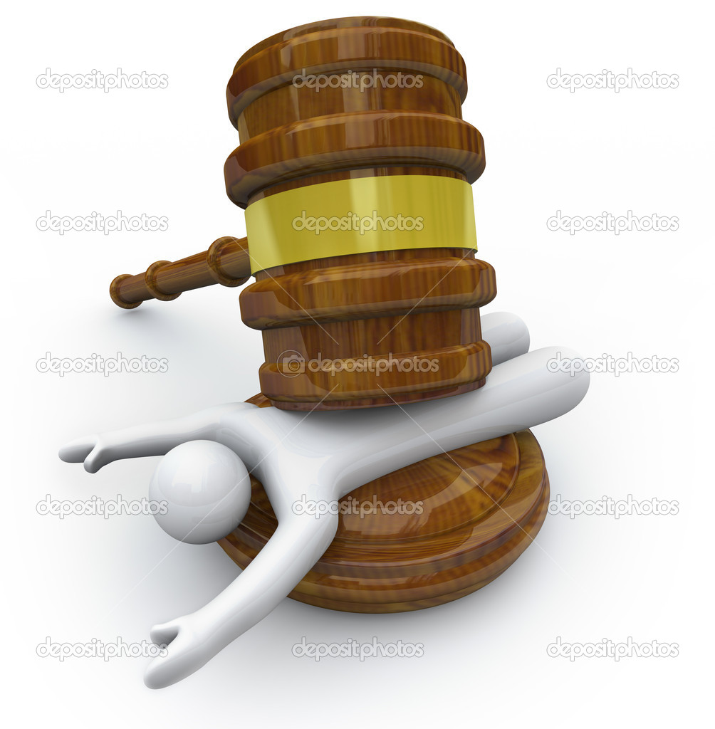 A wooden gavel hits a person symbolizing being punished in a criminal court case — Stock Photo #5078756