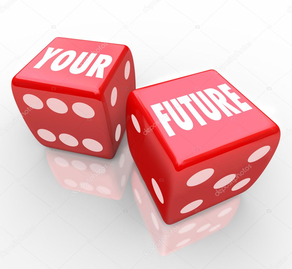 Two red dice with the words Your Future on their faces, symbolizing the risks in gambling — Stock Photo #5078759