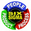 Six Sigma Principles - Circle Diagram 3 Core Elements — 图库照片