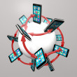 Stock Photo: Smart Phones and Apps Global Communication Network