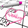 Wedding - Marriage Day Circled with Heart - 图库照片