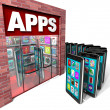 Apps Store - Mobile Smart Phones Buying Applications - Stock Photo