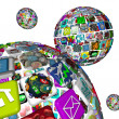 Galaxy of Apps - Several Spheres of Application Tiles - Stock Photo