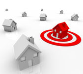 One House in Bulls-Eye Target - Marketing to Buyers — Stock Photo