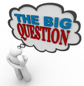 The Big Question - Thinking Person Asks in Thought Bubble — Stockfoto