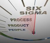 Six Sigma - Speedometer Speeding to Certification — Stock Photo