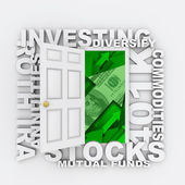 Investments - Open Door to Diversified Investing Growth — Stock Photo