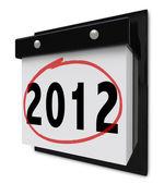 2012 - kalendarz ścienny wyświetlanie daty nowy rok — Zdjęcie stockowe