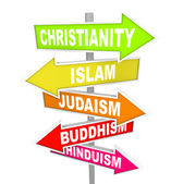Five Major World Religions on Arrow Signs — Stock Photo