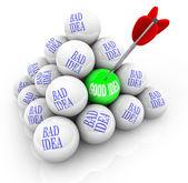 Good Idea vs Bad Ideas - Successful Creativity — Stock Photo