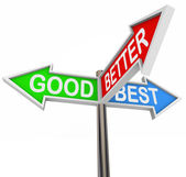 Good Better Best Choices - 3 Colorful Arrow Signs — Stock Photo